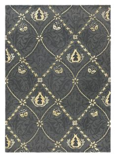 Wool rug with trellis and floral design in grey and gold