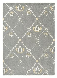 Wool rug with trellis and floral design in grey and cream