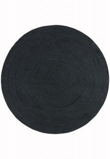 dark grey woven indoor/outdoor circle rug