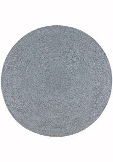 plain grey woven indoor/outdoor circle rug