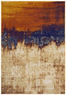 blue and orange abstract rug