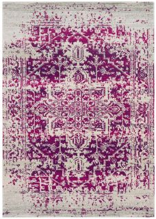 red rug with an oriental design