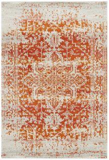 orange rug with an oriental design
