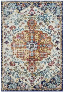 multicolour rug with an oriental pattern