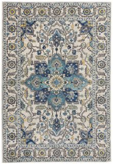 blue and white rug with an oriental design