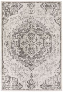 grey rug with an oriental pattern
