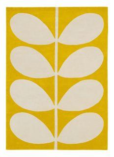 orla kiely yellow stem rug - wool rug with a leaf pattern