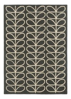orla kiely giant linear stem slate rug - grey rug with a leaf design