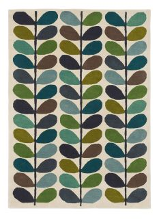 orla kiely multi stem kingfisher rug - multicolour rug with a green and blue leaf pattern