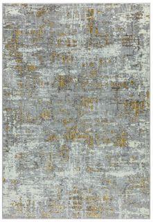 abstract yellow and grey rug
