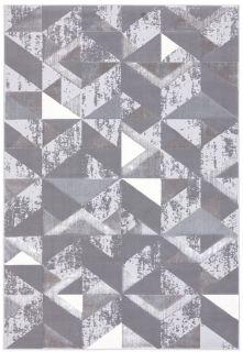 silver geometric rug