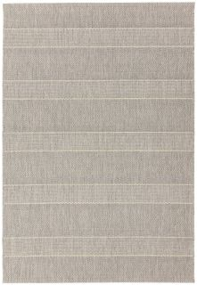 Woven beige and white rug with stripe pattern