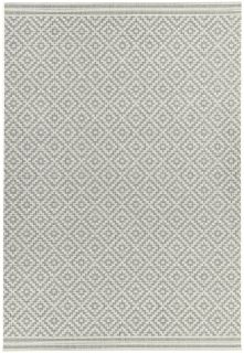 Woven grey and white rug with a modern geometric diamond pattern