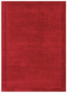 A plain red rectangle-shaped wool rug with thin border.