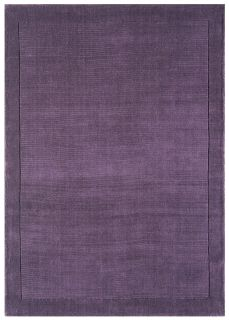 A plain purple rectangle-shaped wool rug with thin border.