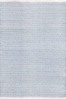 Herringbone Swedish Blue Cotton Woven Rug