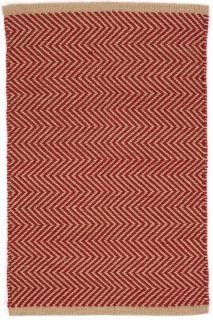 red indoor/outdoor rug with zigzag design