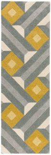 multicolour geometric runner in mustard yellow and grey