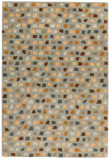 multicolour geometric rug in brown, grey and blue