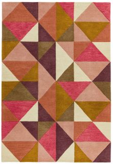 multicolour geometric rug in pink purple and brown