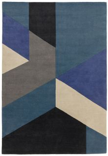 multicolour geometric rug in blue and black
