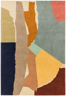multicolour geometric rug in yellow, peach and blue