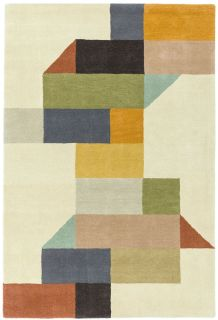 multicolour geometric rug in mustard yellow, peach and blue