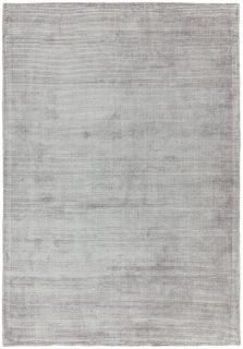 Plain silver rug with alternating viscose and cotton rib pattern