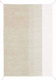 reversible textured rug in green and ivory with ombre design