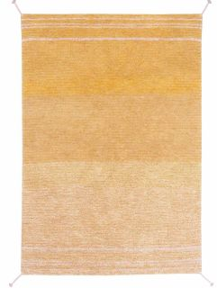 reversible textured rug in beige and yellow with soft gradient design