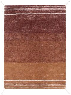 reversible textured rug in beige and brown with soft gradient design