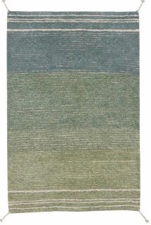 reversible textured rug in beige and blue with soft gradient design