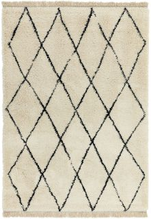 cream and black moroccan style rug