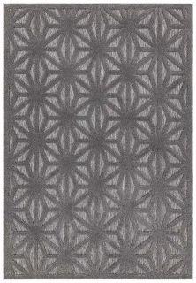 grey indoor/outdoor rug with geometric design