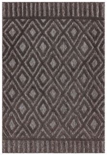 charcoal grey indoor/outdoor rug with geometric diamond design