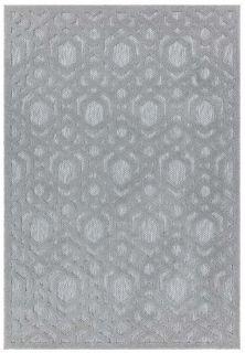 silver grey indoor/outdoor rug with geometric design