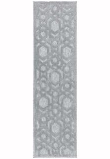 silver grey indoor/outdoor runner with geometric design
