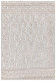 cream indoor/outdoor rug with geometric design