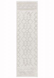 cream indoor/outdoor runner with geometric design