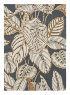 Sanderson wool rug with a grey and yellow leaf pattern