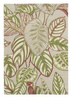 Sanderson wool rug with a green and beige leaf pattern