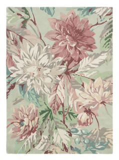 Sanderson wool rug with a grey, green and pink floral design