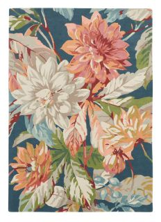Sanderson wool rug with a blue, green and pink floral design