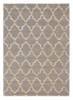 Rectangular grey rug with cream repeating trellis pattern and gold viscose details
