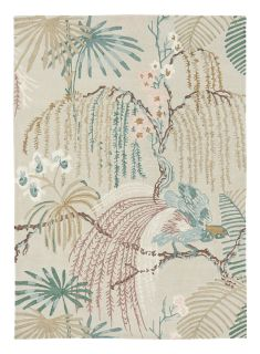 grey Sanderson wool rug with a multicolour floral design
