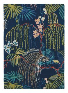 blue Sanderson wool rug with a multicolour floral design