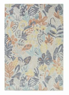 wool rug with multicolour floral design
