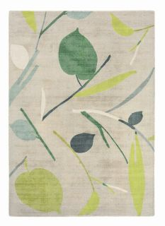 wool rug with an abstract leaf print