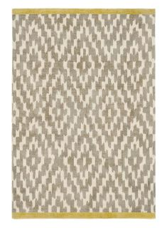 grey wool rug with repeat aztec design