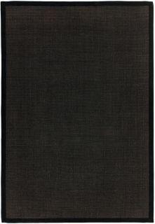 black sisal rug with a black border
